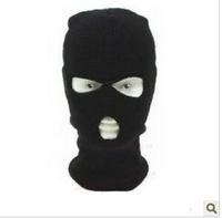 Motorcycle Bike Cycling Racing Windbreak Hat Cap 3 Holes Face Mask Shield Black