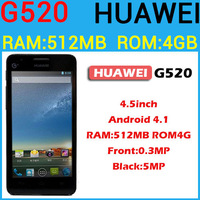 "Original 4.5"" Huawei G520 Qualcomm Snapdragon MSM8225Q quad core 512MB RAM 4GB ROM dual camera bluetooth android smart phone"