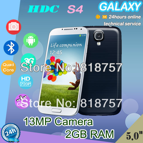 "Best SIV phone 13MP Camera 1G Ram HDC I9500 I9502 S4 Phone 5.0"" 1280x720 IPS Screen MTK6589 MTK6582 Quad Core Smart Mobile Phone(China (Mainland))"