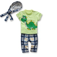 2014 New 5sets/lot Baby set Boy Dinosaur Beach Summer clothing suit 3 pcs set (tops+ pant+ scarf hat) in stock