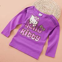 new kids girl autumn 2014 purple fashion cartoon kitty long sleeve casual lace t-shirt children cute brief wholesal t shirts top