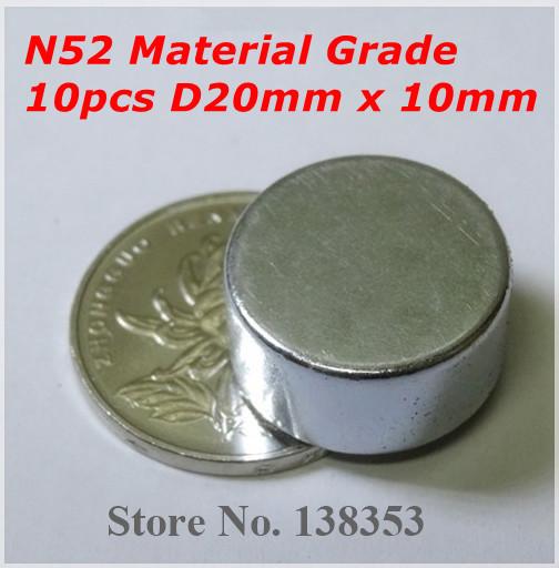 10pcs granel n50 redondo pequeno n52 jóias ímãs diâmetro 20 x 10 mm sup