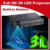 Shutter active 3D projector 2D to 3D HD DLP mini portable Led projector beamer Proyector build-in battery free DHL or EMS