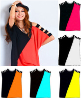 New 2014 Summer Ladies Sexy Strapless Long Bat Sleeve Casual Big Size Multicolor Women's Clothing T Shirt Tops & Tees For Women