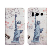 Eiffel Tower Wallet Leather Case for Huawei Ascend Y300 T8833 with Stand & Card Slots
