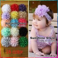 Sunshine store #2F0021 48pcs/lot(16 colors) Chiffon Headdress Flower Hair Styling  Accessories Children Girl Headbands Flowers