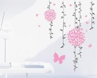 Free shipping!! JM7140 beautiful flowers girls room wall sticker house wall decor 60*90cm