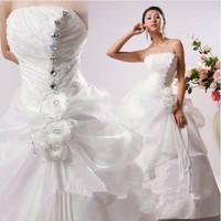 Free shipping2014 spaghetti strap wedding dress plus size wedding dress 2014 diamond princess wedding dress formal dress