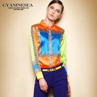 Europe Brand Designer High Street Runway Fashion Lady Spring 2014 New Long Sleeve Color Block XL Work Wear Career Blouse Shirts
