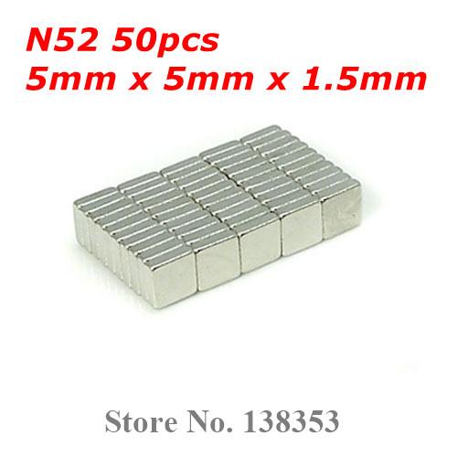 Гаджет  50pcs Bulk Super Strong N50 N52 Neodymium Square Block Magnets 5mm x 5mm x 1.5mm Rare Earth NdFeB Cuboid Magnet None Строительство и Недвижимость