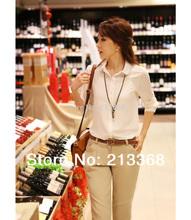 free shipping 2013 autumn long-sleeve chiffon shirt ol women's professional shirt chiffon basic shirt white shirt#5817(China (Mainland))