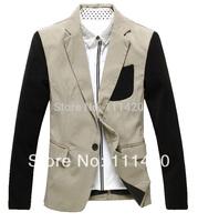 2014 Patched Gentleman Single Button Young Men's Blazer Fashion Cotton Man Suits Slim Fit Korean Style 3Colors