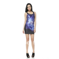 2014 Summer Galaxy slim elastic slim hip sleeveless tank dress one-piece dress girls print dress party sexy dress  tq010