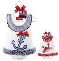 Free shipping by Fedex IP baby girl's Summer skirt/sailor and crab dress/ climbing clothes jumpsuit veil dance clothing
