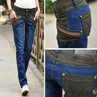 Winter New Elasticity Large Yard Zip Splice Harlan Jeans Korean Wave Thin Feet Jeans Trousers