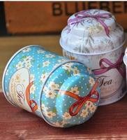 Free shipping DHL wholesale Scrub charming little flower box 5cm*5cm*7cm mini tea caddy circle portable storage tin