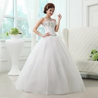 2014 new arrival wedding dress formal dress sweet tube top sparkling diamond princess bride lace strap style 11