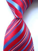 New Classic Striped Red Blue White JACQUARD WOVEN 100% Silk Men's Tie Necktie SN27