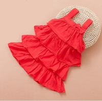 baby girl new arrival 2015 summer fashion red pink gray princess ruffle casual dress with bow infant girl cute sleeveless dress