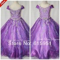 Hot Sale Graceful Beaded Sequined Little Girls Pageant Dress Purple Organza Ball Gown Spaghetti Strap Flower Girls Dress FD007