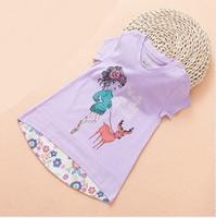 new 2014 summer kid girl fashion cartoon print casual irregular length cotton t shirts children cute princess t shirts tops