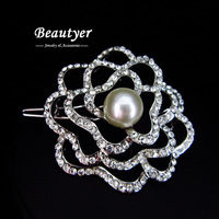 Fully Rhinestone Flower Hairgrip Silver Stone Pearl Bridal Hair Grip Platinum Plated Wedding Hair Accessories Beautyer BFS80