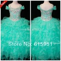 Newest Design Spaghetti Strap 2014 Little Girls Pageant Dress Ruffles Blue Ball Gown Sequined Beaded Flower Girls Dress FD006