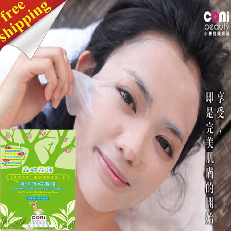 free shipping CONI tea tree purified restoring mask,purify skin, balance skin oil, skin metabolism, dredge pores,acne treatment(China (Mainland))