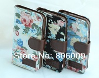 Luxury Flower Cloth Leather Case Cover for Samsung S4 I9500, 50pcs free DHL/EMS