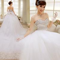 2014 spring wedding dress formal dress luxury diamond tube top train wedding dress bandage plus size wedding dress 9018
