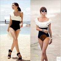 New 2014 Patchwork Plus Size Brand Slim Swimwear Women Sexy Vintage Ruffles One Piece Swimsuit Pad Inside Push Up Bathing Suit
