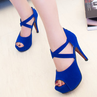 Hot-selling women's open toe sandals 2014 summer gladiator platform thin heels high-heeled shoes women's shoes