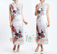 Tang Suit  Woman's Silk Cheongsam Oriental Lady long Dresses Qi Pao Party Dress Chinese Style Wedding Dress 4 Colors