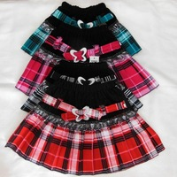 (80-110CM)  4pcs/lot   Fashion 5 colors beautifull Fashion Girl's  Plaid skirt / Girl skirt With Bow Belt