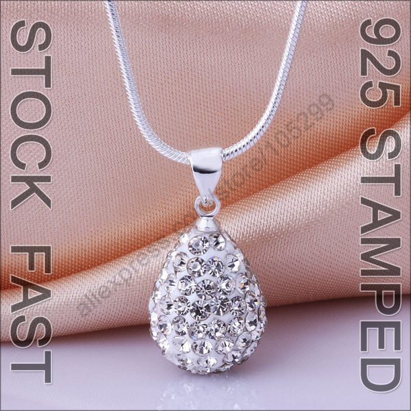 "10PCS 925 Sterling Silver Austrian Crystal Shamballa Water Drop Women Pendant Necklace 18"" Snake Chain Sets Jewelry(China (Mainland))"