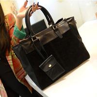 Fashion vintage women's nubuck leather patchwork shoulder bag handbag cross-body bag high quality