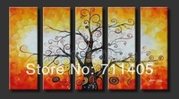 Framed Hand Painted 5 panels yellow money tree group oil painting canvas art home decor wall art Free shipping A-359
