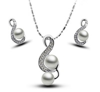free shipping _ High-grade pearl music symbol Necklace elegant Earrings Necklace Set - Beauty line