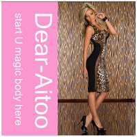 DHL Free Shipping 10pcs/Lot 2014 New Sexy Knee-Length Patchwork Club Leopard Print Tank Dress For Women 4144