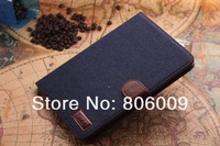 Luxury Jeans Cloth Leather Case Cover for ipad mini, 20pcs free DHL/EMS