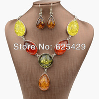 2014 big heart amber african rhinestone wedding jewelry sets bridal jewelry sets with stones fashion