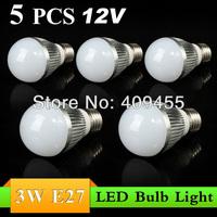 Wholesale(5pieces/lot)Led Bulb E27 3w 4w 5w 6w 7w 9w lights AC/DC12V Warm/White LED Light Bulb Lamp