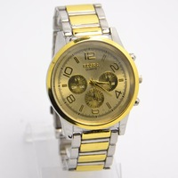 Wholesale New Fashion black&gold men Full Stainless Steel watch Sports Quartz Wrist Watch for gift RO-72-2