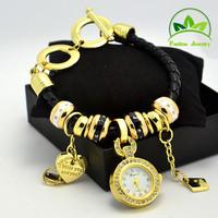 Wholesale Multi Charms Bracelet Watch Fashion Women Lady Quartz Crystal Watch Wristwatches GO0911