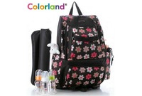 2014 Colorland Diaper Bags Nappy Bag Backpack Multifunctional Stroller Bag with gift Changing Pad Stripe Flower 0.6kg