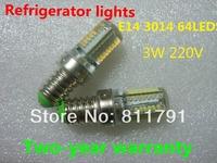 2Pcs/Lot E14 Refrigerator lights LED Corn Lamp 3W 220V Bulb Corn Light Lighting 450Lm 3014 SMD 64 LED Spotlight Free Shipping
