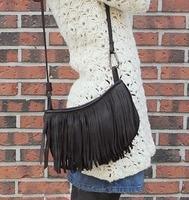 2014 brand women's tassel chain shoulder bag totes bucket bag black handbag vintage messenger bag gift for women free shipping