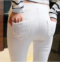 Fast/Free Shipping New Spring 2014 Plus Size Solid Lace Casual Long Trousers Women Skinny Leggings Female Clothing A6216
