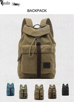 2014 New Hot Sale Vintage Canvas Cow Leather Hiking Travel Military Backpack Bag Rucksac school backpack women men backpack
