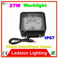 20pcs/lot Square coolWhite LED Road Spot/flood Beam 27W Work Light Lamps Off Road Car Truck Boat Camping light